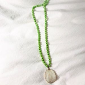 Jewelry - Druzy pendant Green beaded long necklace